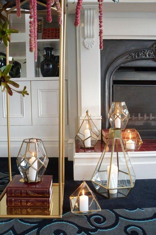Gold and Bronze Geometric Lanterns
