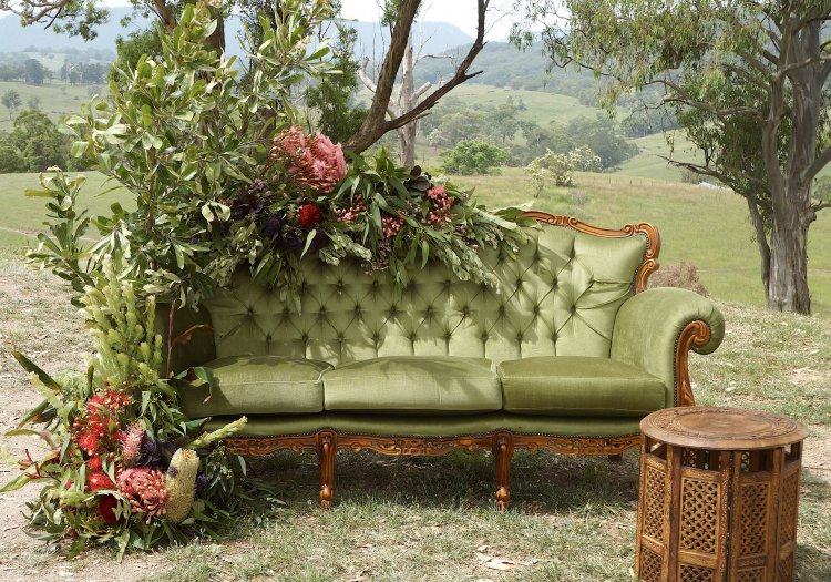 Lounge - Olive Green Velvet Louis - 3 Seater