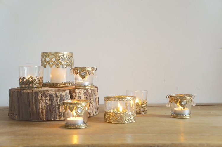 Moroccan Votives with Gold Brass Detailing
