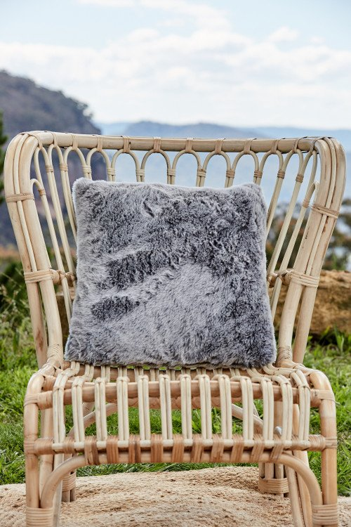 Cushion - Faux Fur Cool Grey