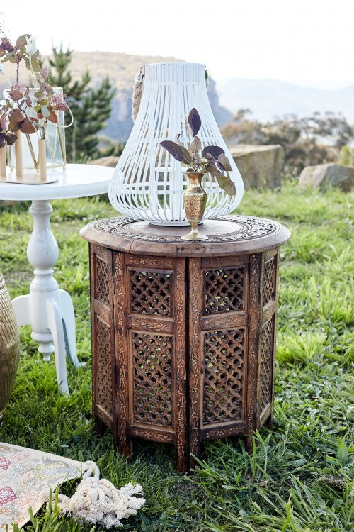 Moroccan Timber Side Table - Natural