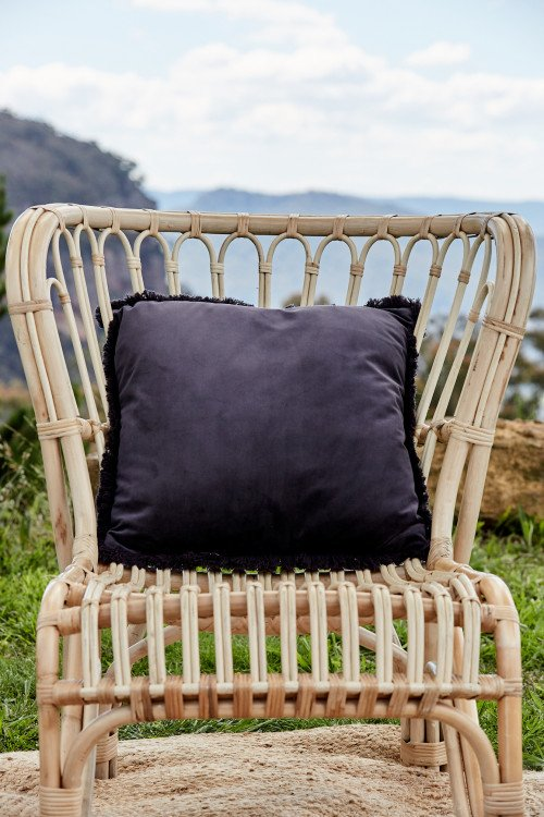 Cushion - Charcoal Velvet Fringe