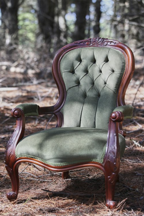 Arm Chair - Olive Green Velvet Lounge