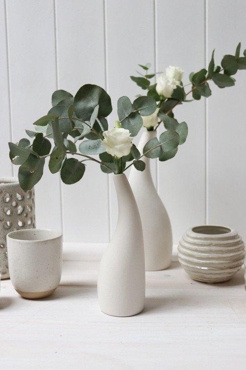 Vase - White Ceramic Swan Low
