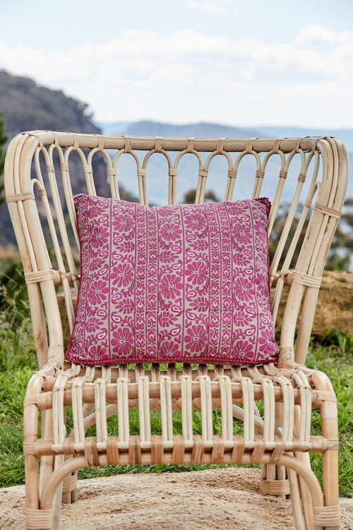 Cushion - Fuchsia Cotton Boho Print