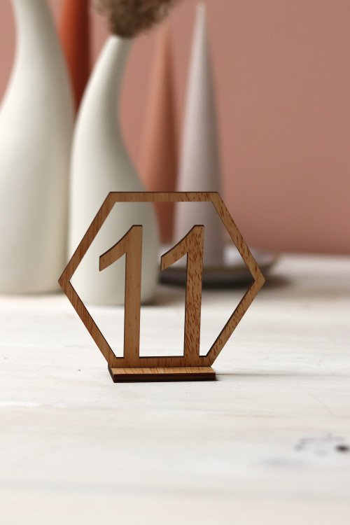 Table Numbers - Timber Hexagon