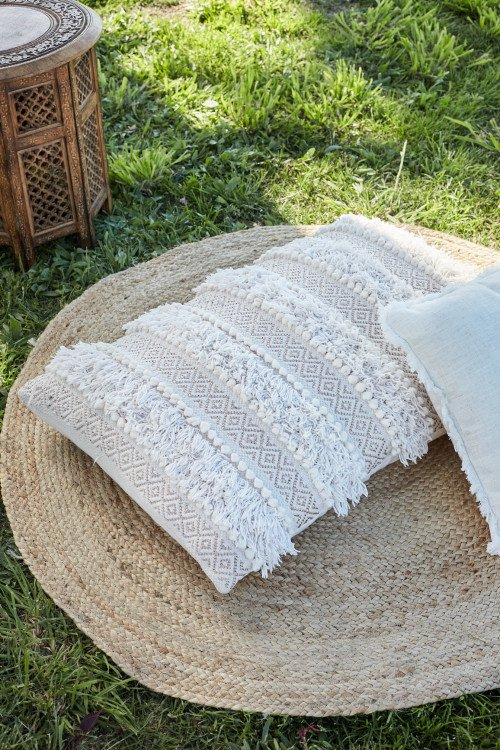 Cushion - Macrame Natural White Boho Floor