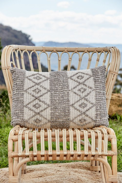 Cushion - Geo Warm Grey Textured
