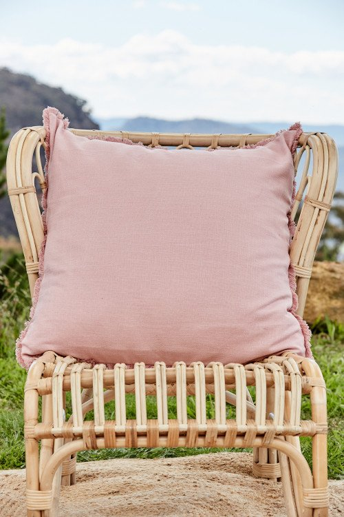 Cushion - Large Blush Linen with Fringe