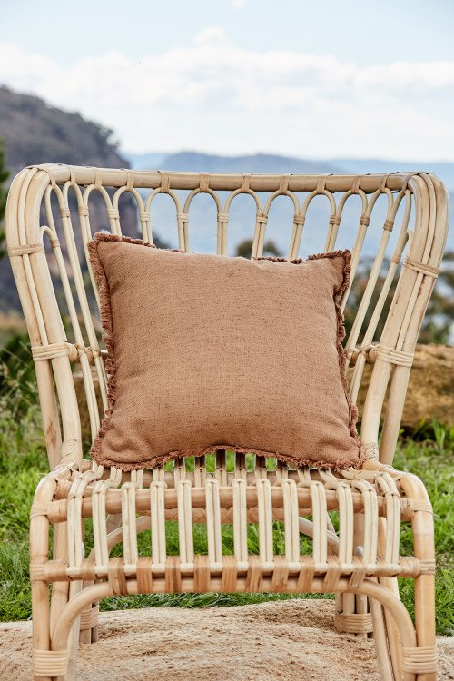 Cushion - Latte Linen with fringe