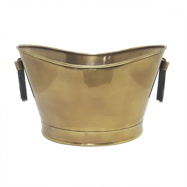 Ice Bucket - Brass Crescent with Tassel Chains
